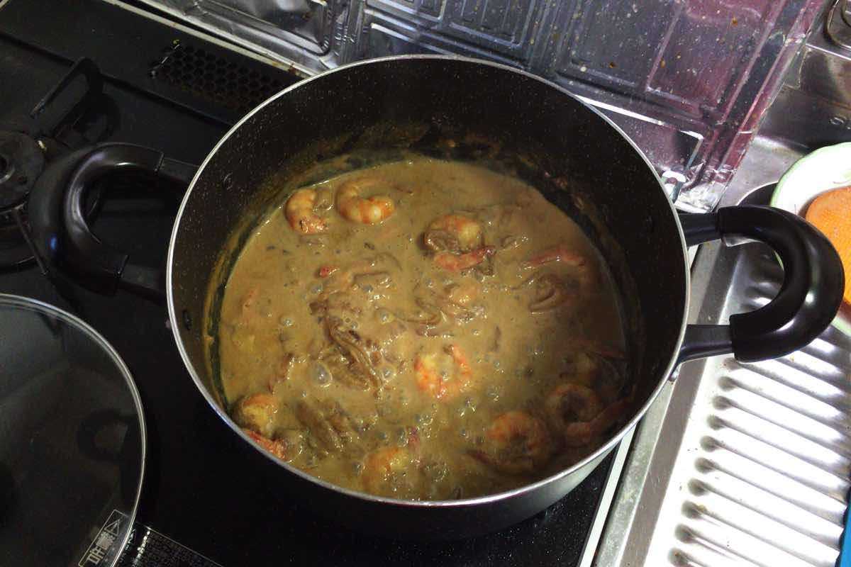 Soy milk shrimp curry 11