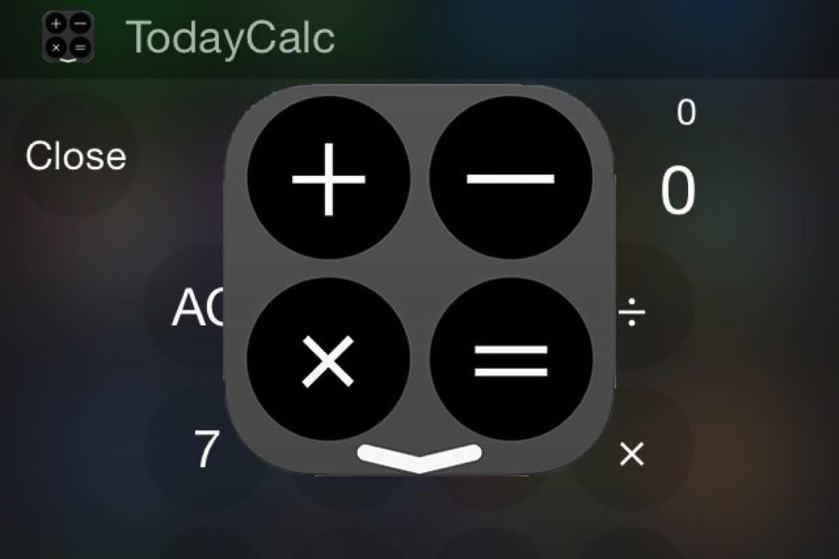 折りたためる電卓ウィジェットiPhoneアプリ「Today Calc」