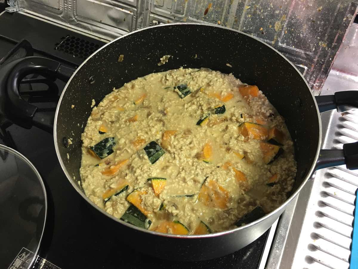 Soymilk pumpkin keema curry 12